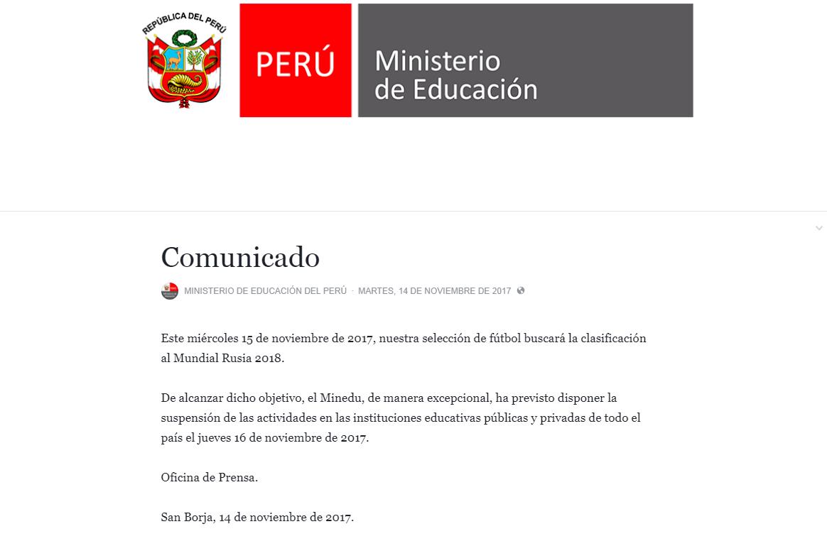 Minedu da importante anuncio para estudiantes si Perú clasifica al Mundial